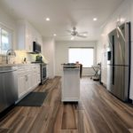 Image of a small galley style kitchen remodel in Los Angeles